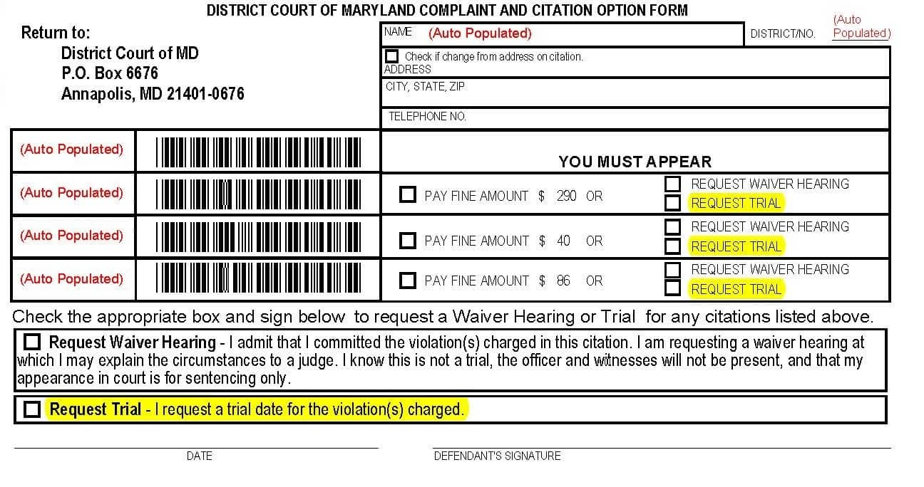 How should i comply with the ticket pay the fine request a waiver comply with maryland citation spiritdancerdesigns